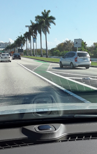 West Palm Beach Bike Lane on high speed arterial